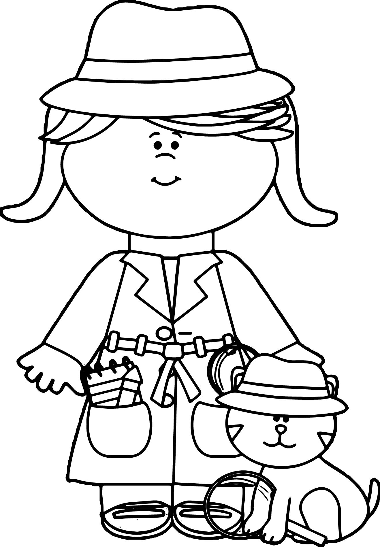 Little girl detective with cat coloring page for Little girls coloring pages