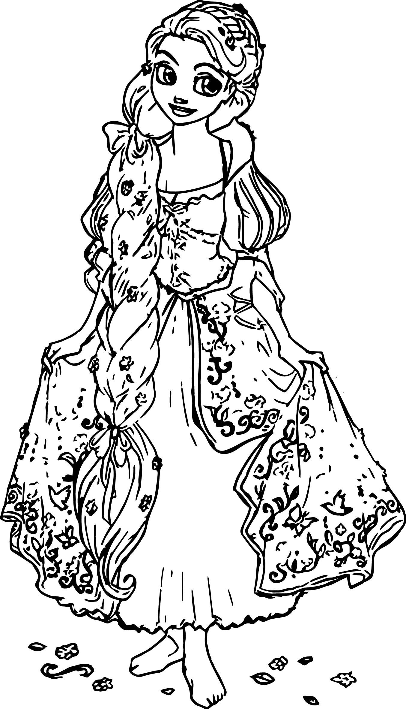 Luxury Rapunzel Deluxe Princess Coloring Page