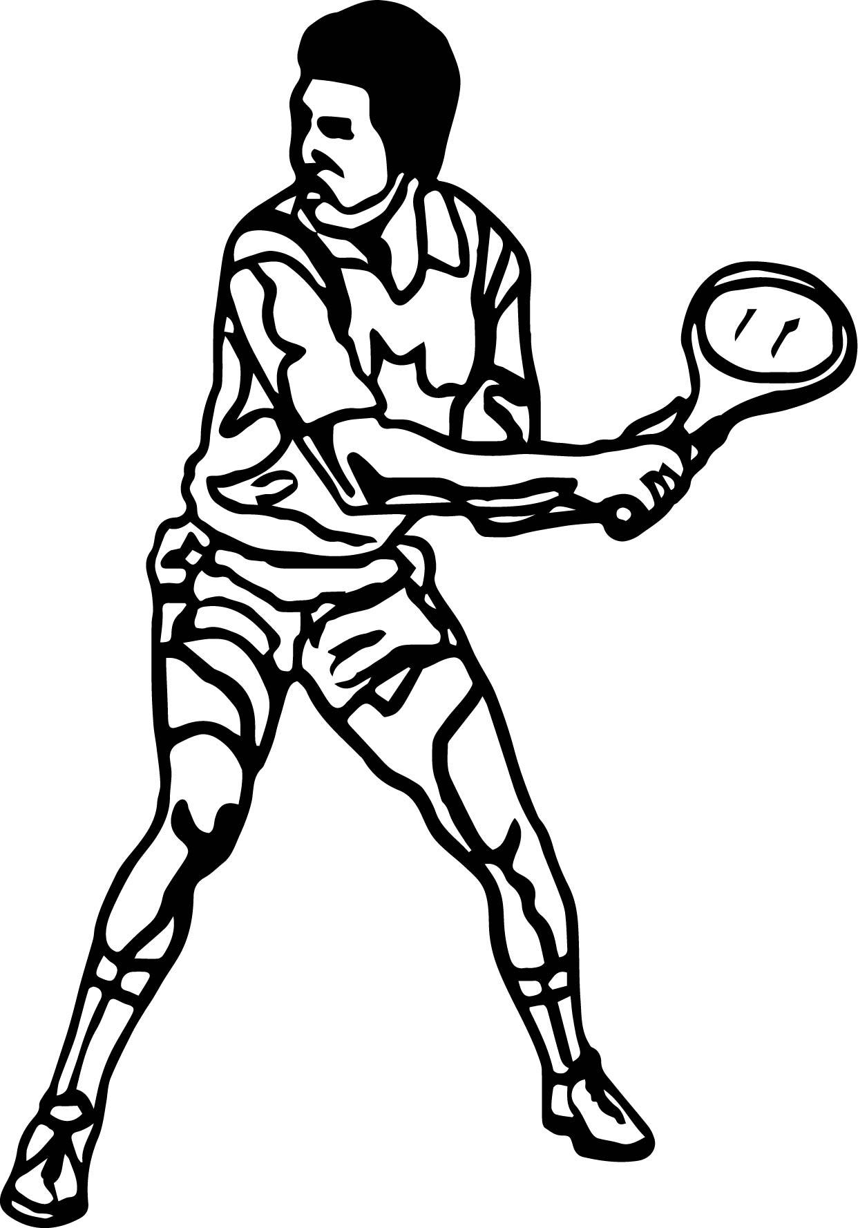 Man Kid Playing Tennis Coloring Page