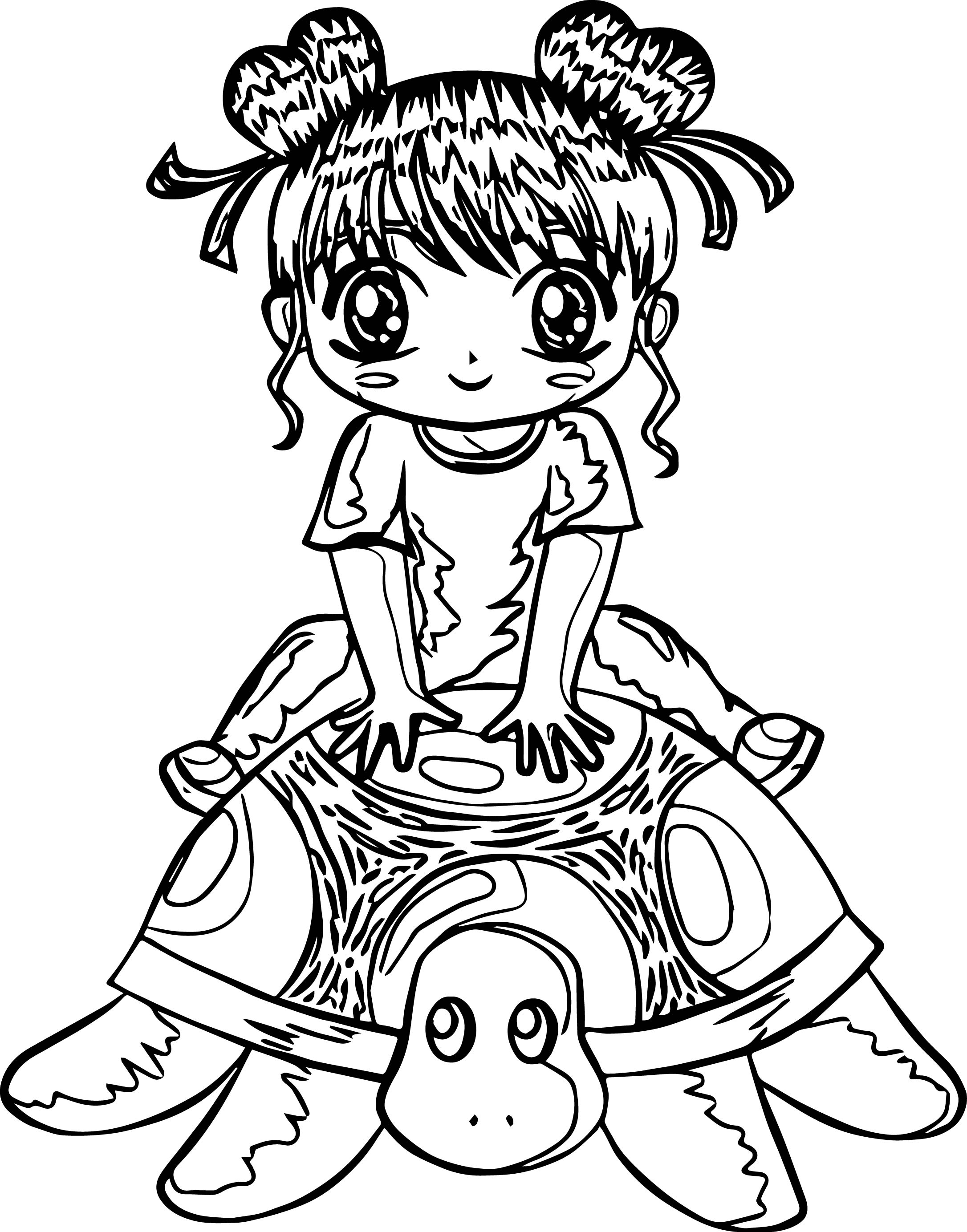 Manga Girl Japan Tortoise Turtle Coloring Page