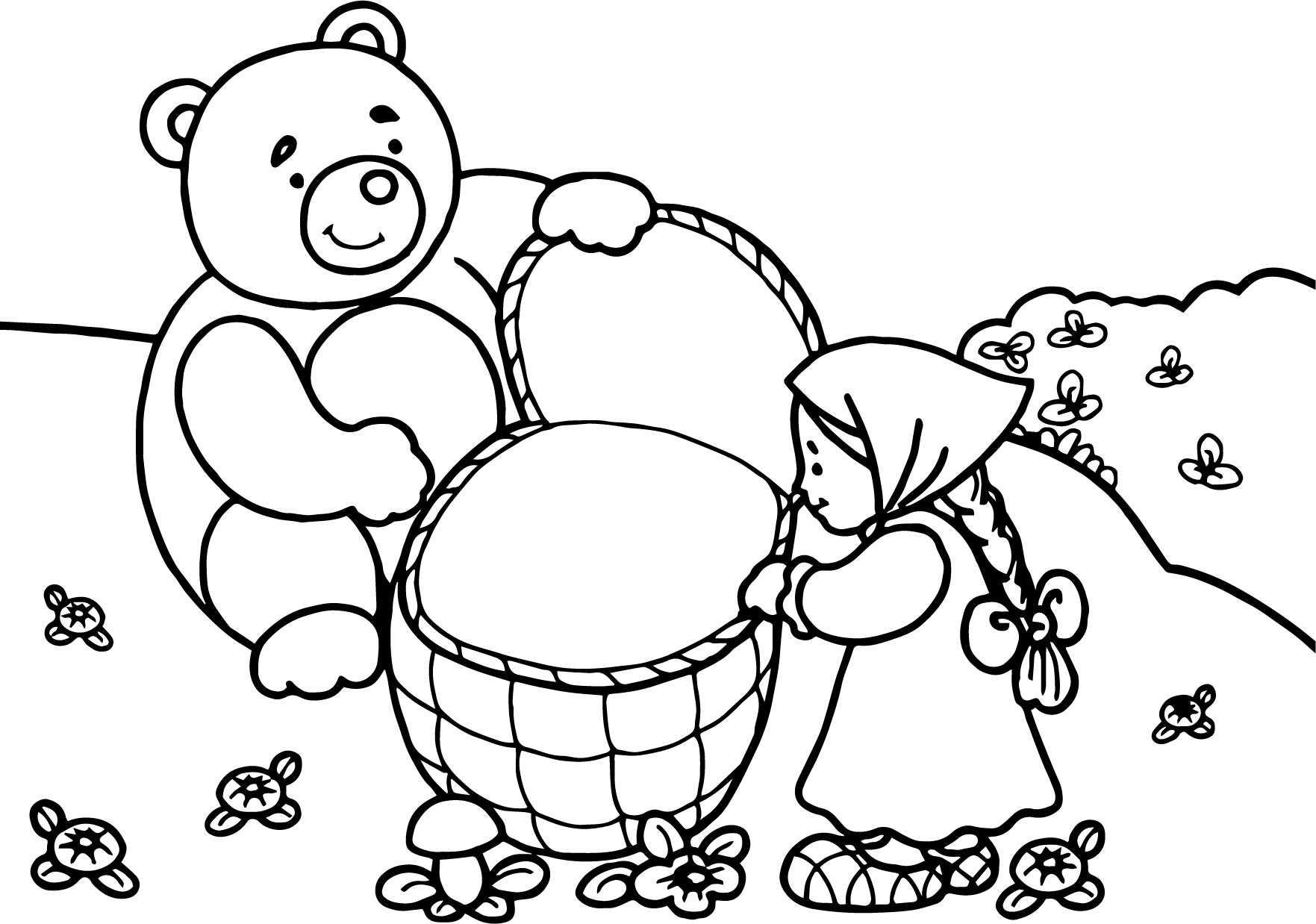 mawa kawa masha and bear forest coloring page wecoloringpage