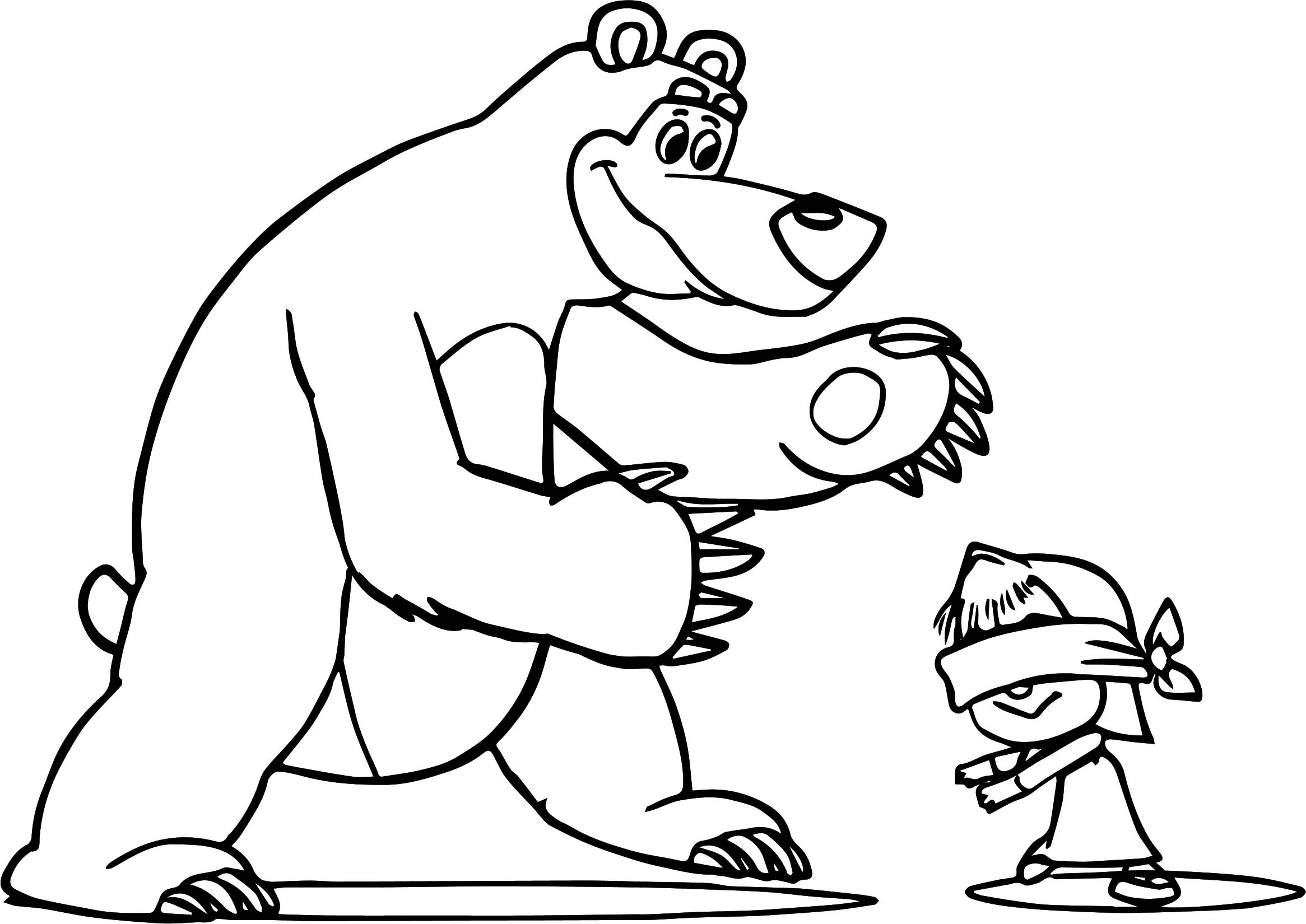 Mawa Kawa Masha And Bear Hiding Coloring Page
