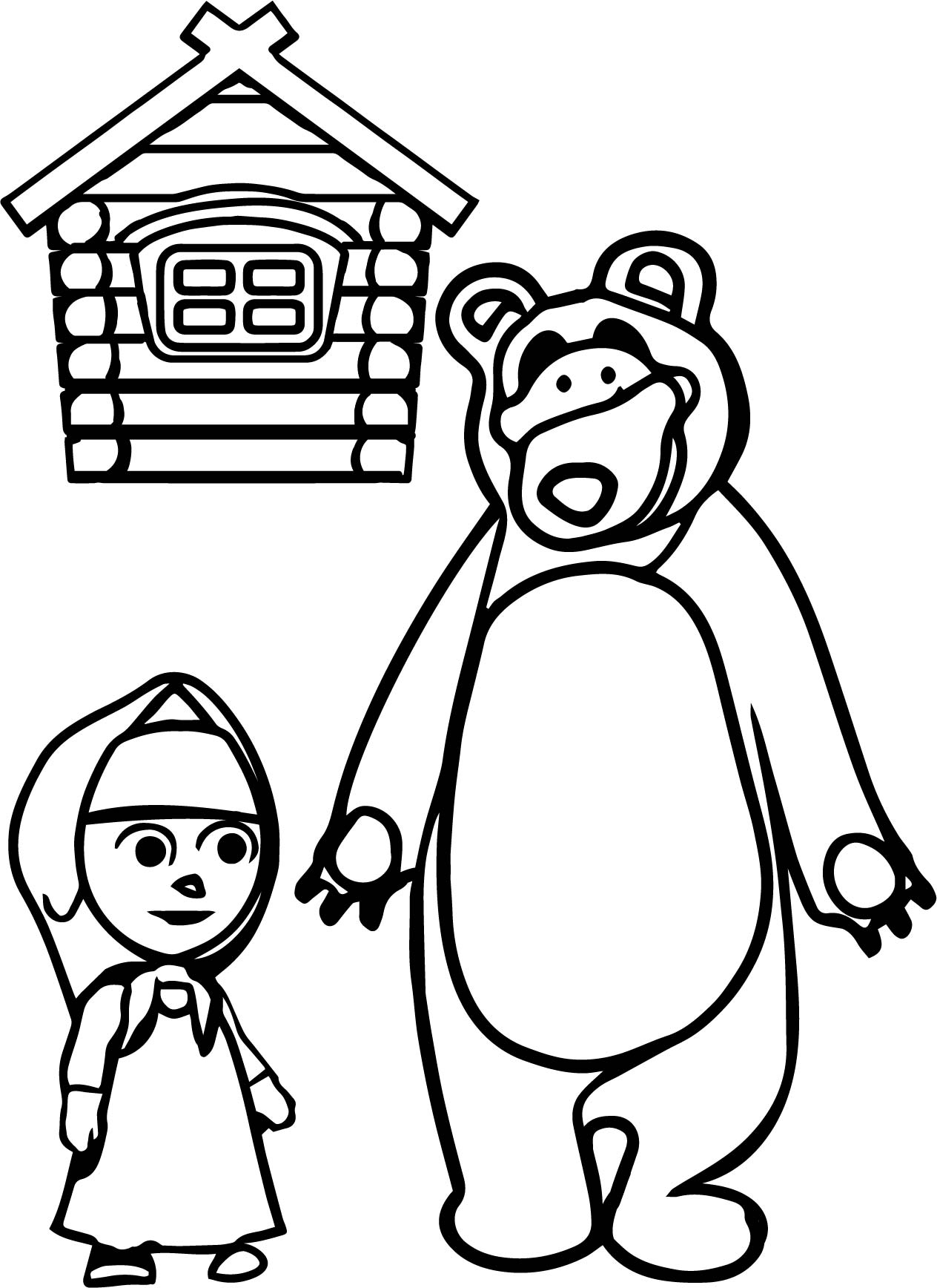 mawa kawa masha and bear home coloring page wecoloringpage