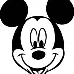 Mickey Mouse Face Cartoon Coloring Page