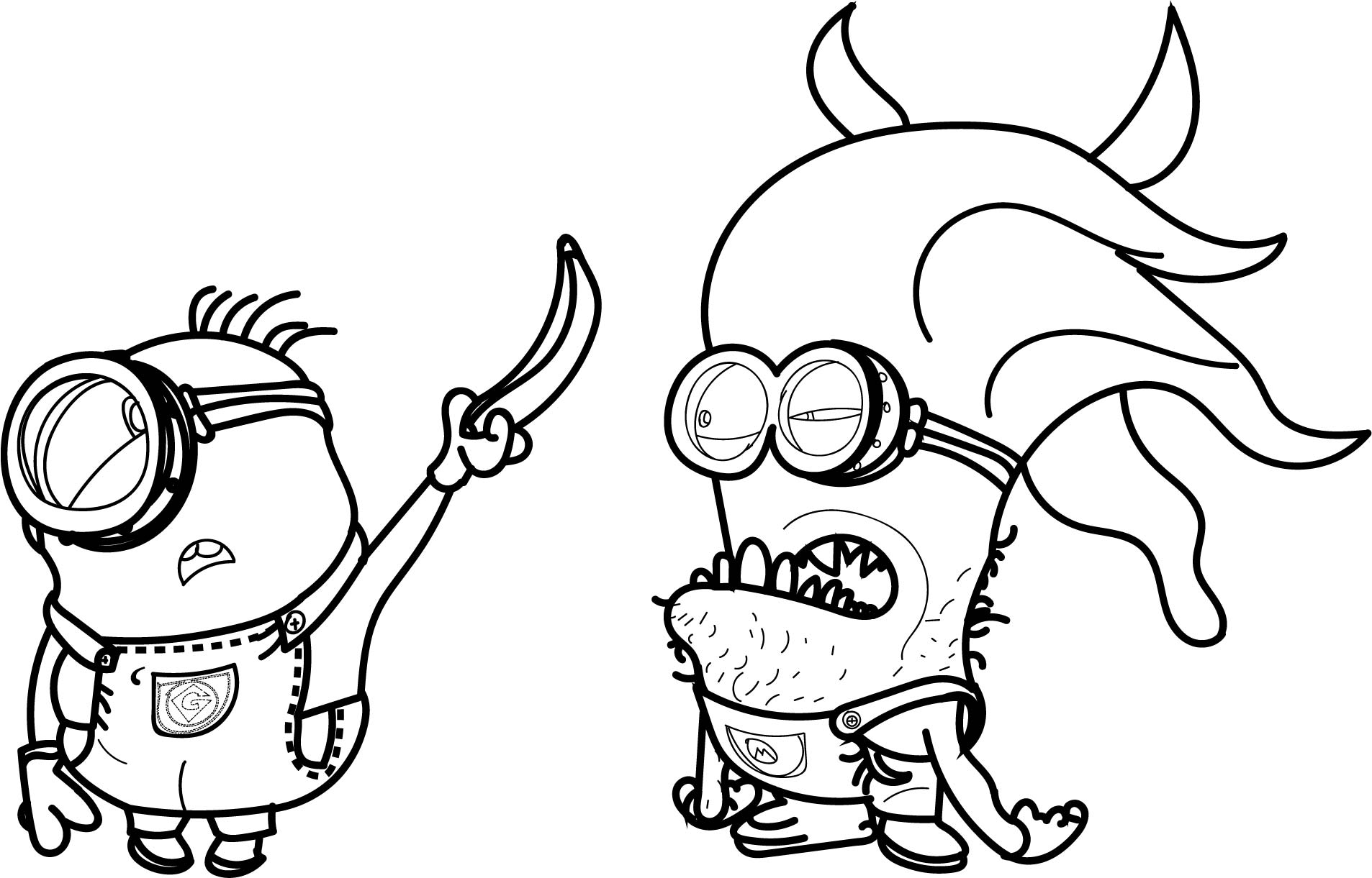 Minion Creature Banana Catch Coloring Page