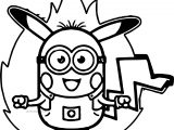 Minion Pikachu Pokemon Power Coloring Page