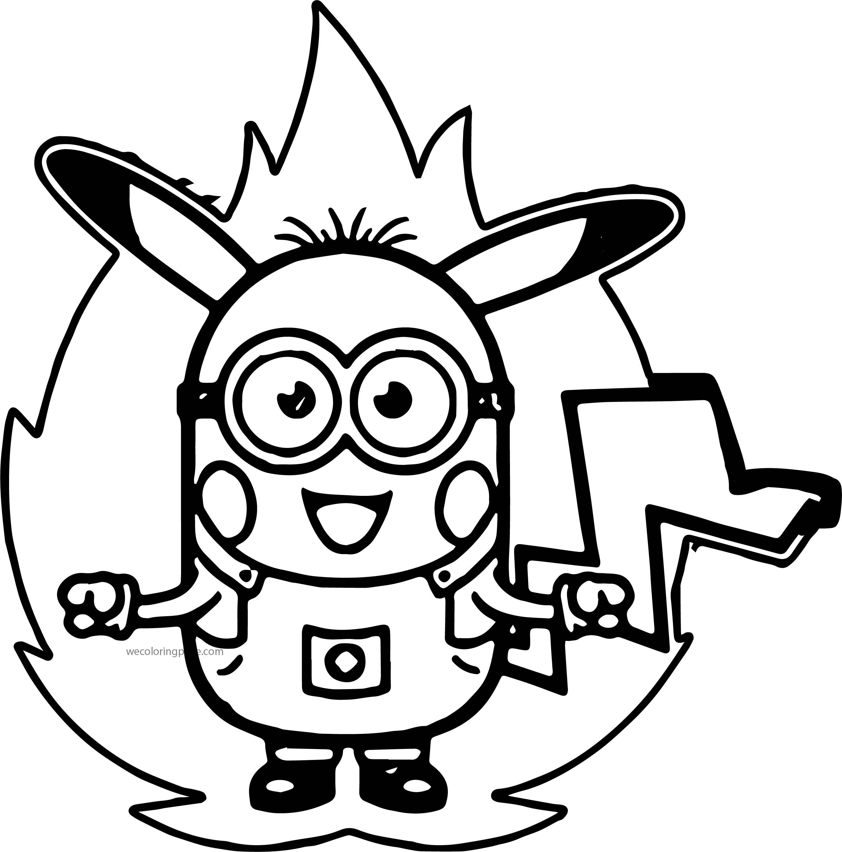Minion Pikachu Pokemon Power Coloring Page