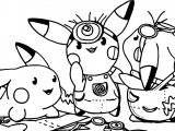 Minion Pikachu Pokemon Team Coloring Page