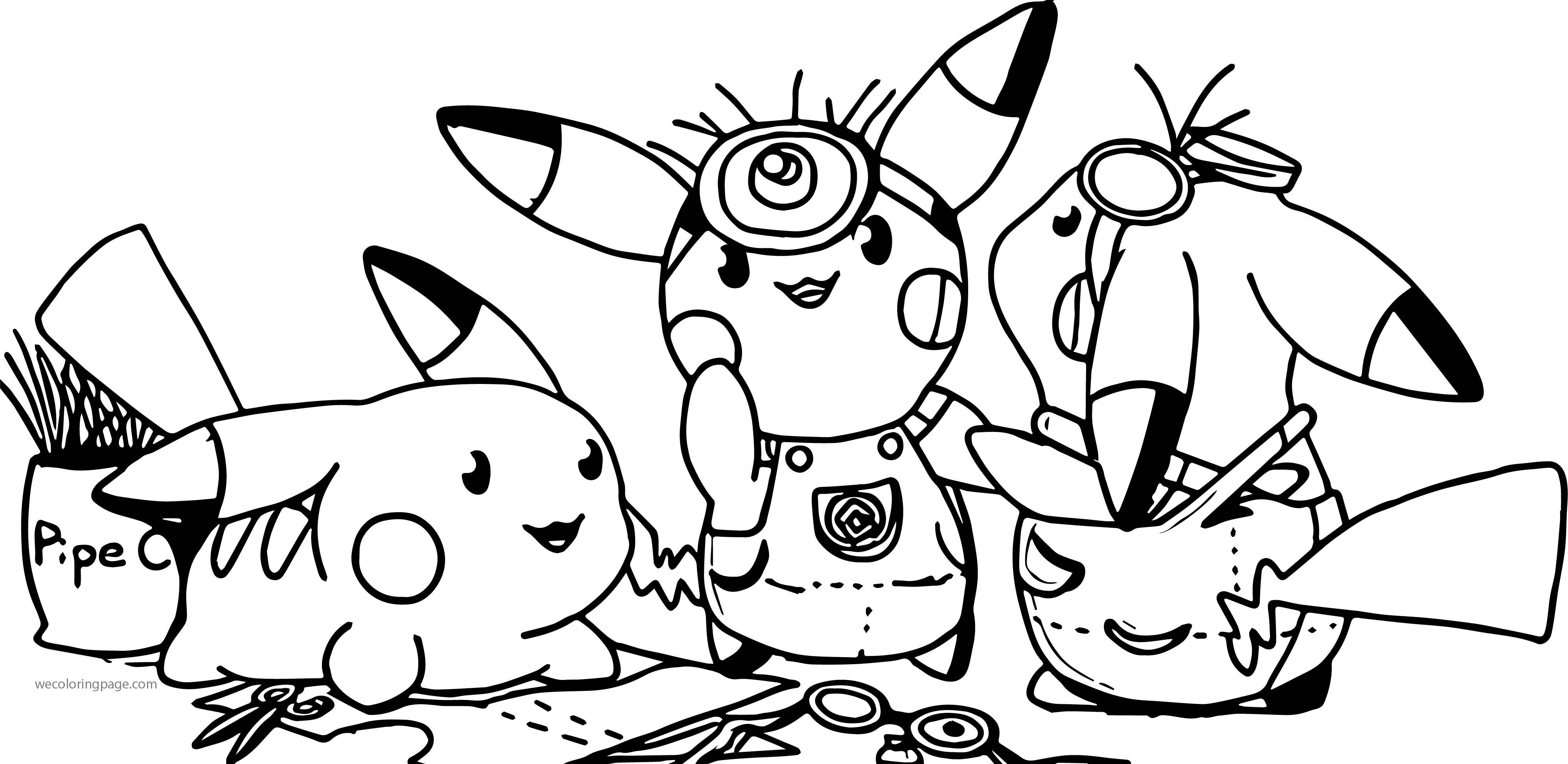 Minion Pikachu Pokemon Team Coloring Page