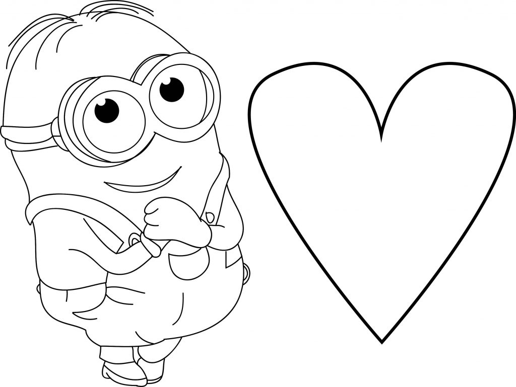 Minion Very Cute Dave Heart Coloring