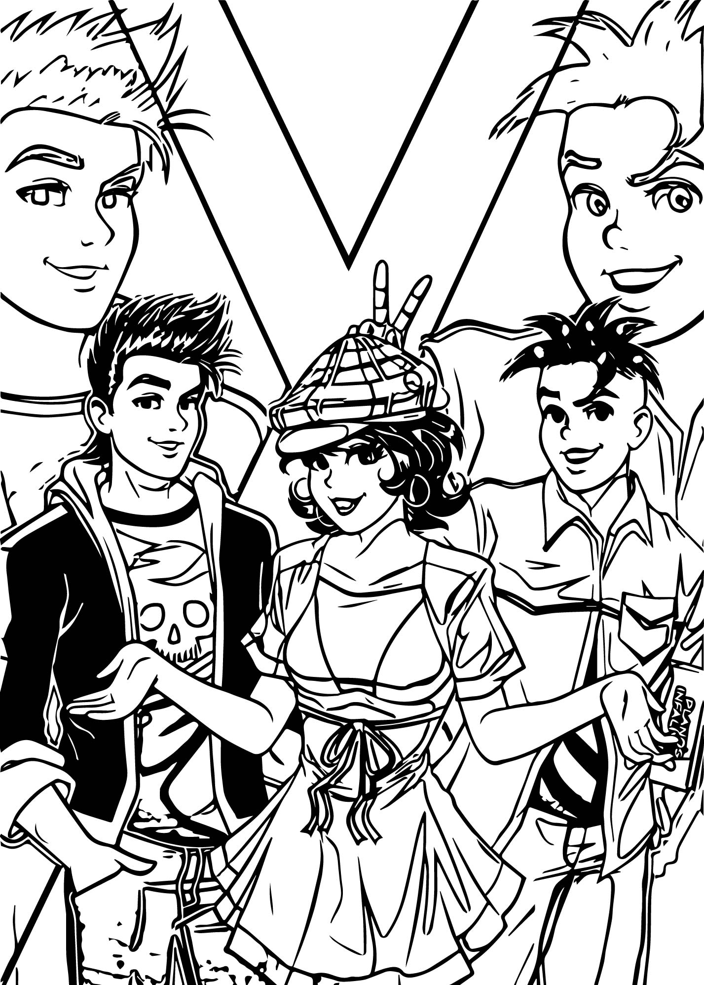 Monica And Boy Friends Coloring Page