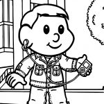 Monica Friend Child Boy Listening Music Coloring Page