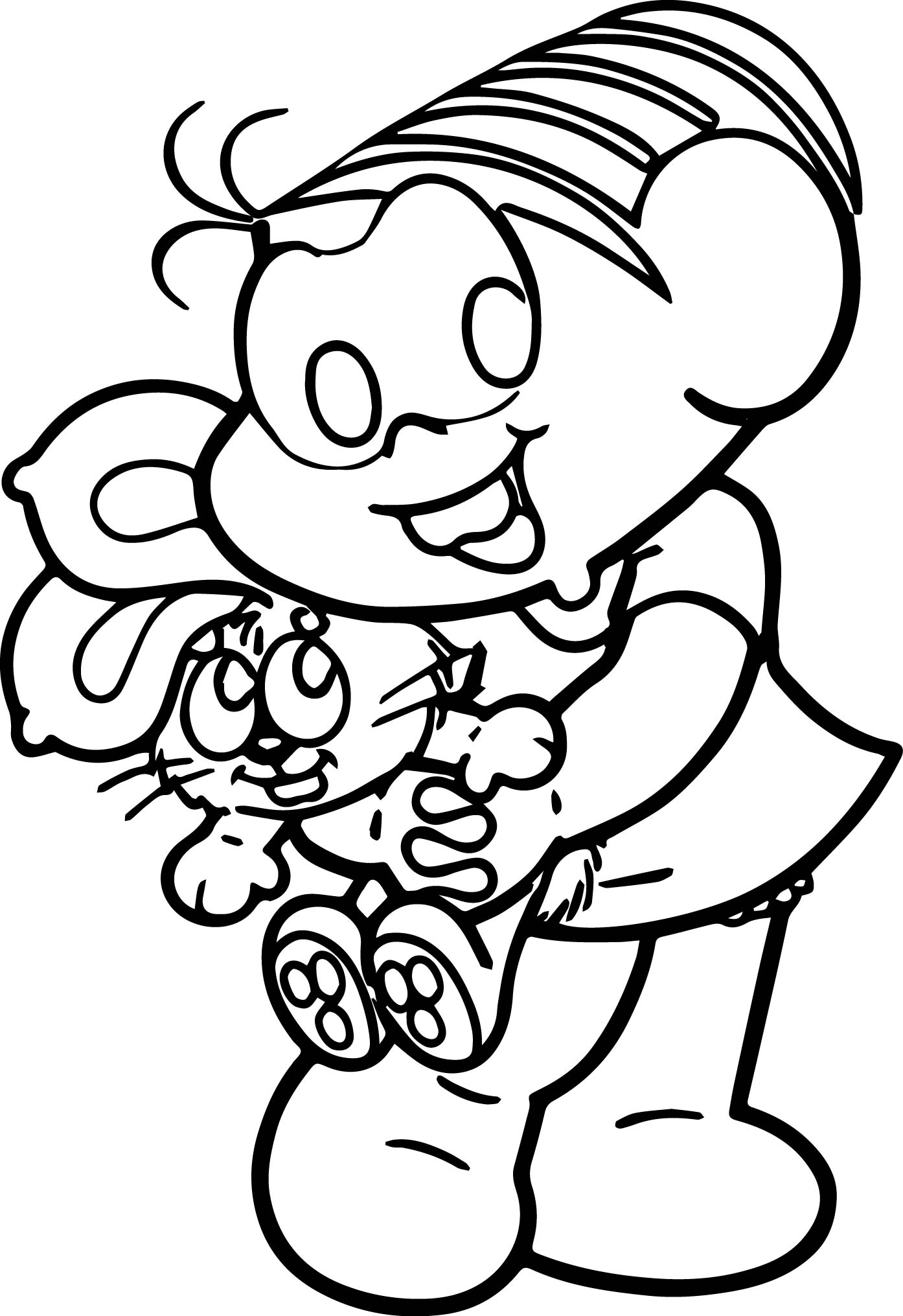 Monica Holding Toy Bunny Coloring Page