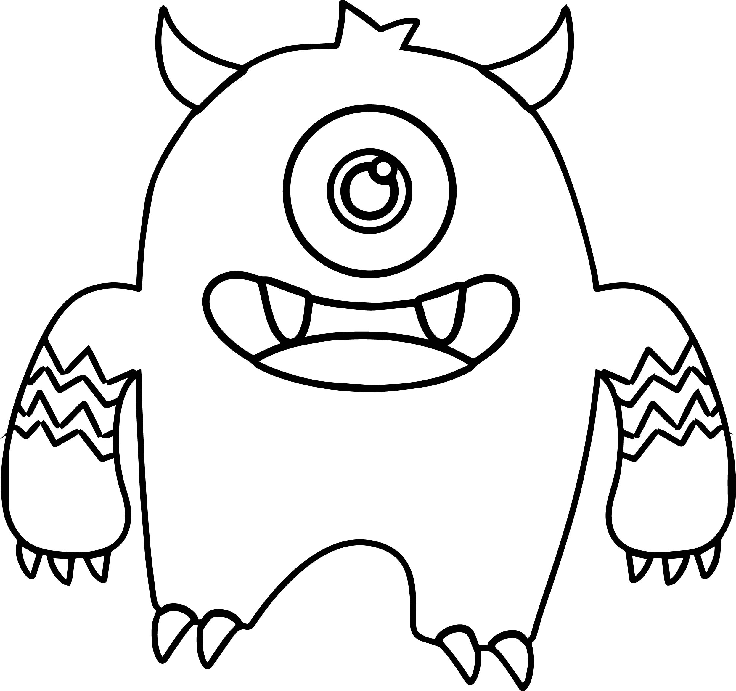 Monster alien big cute coloring page for Mosnter template