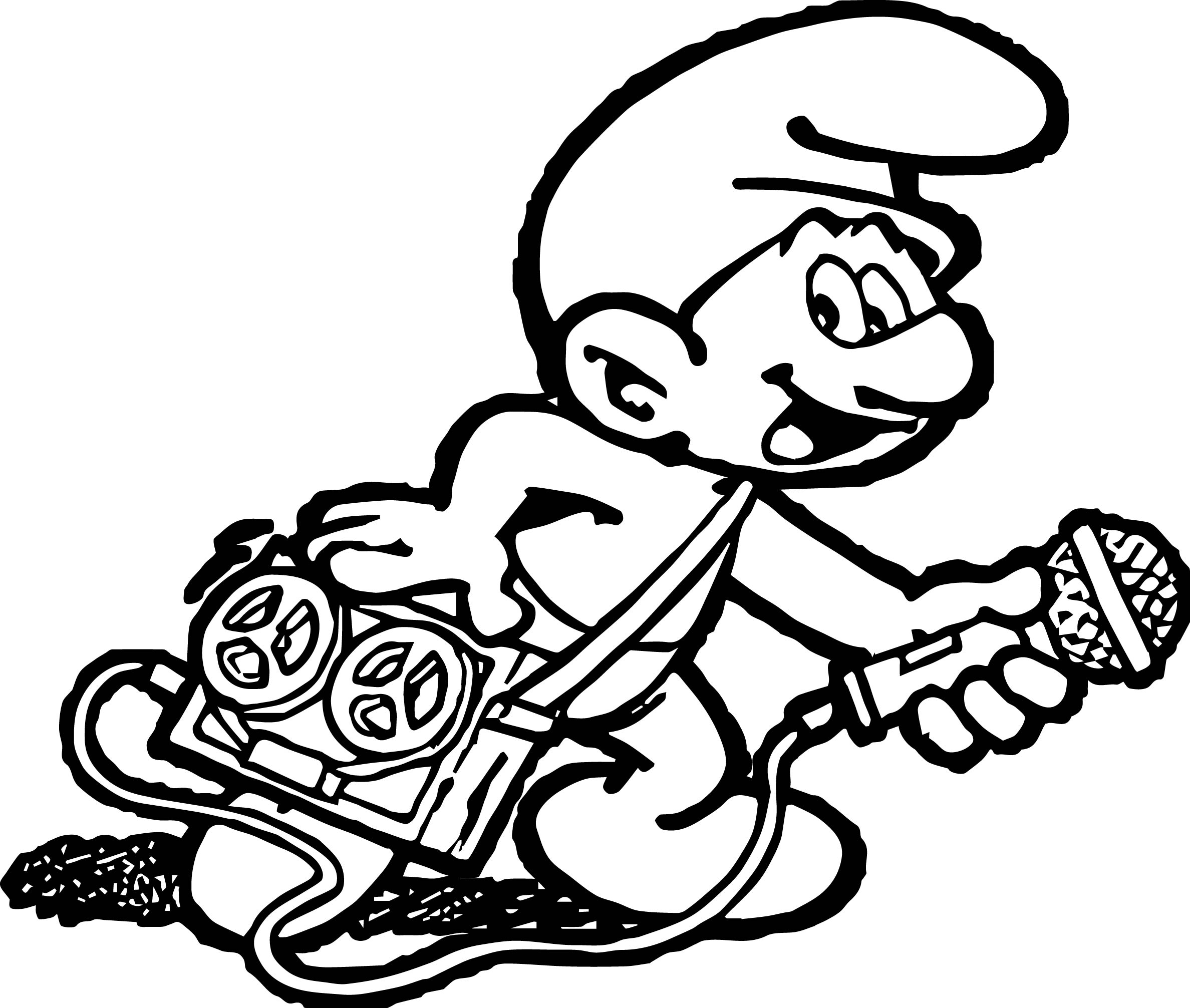 Music Player The Smurfs Coloring Page