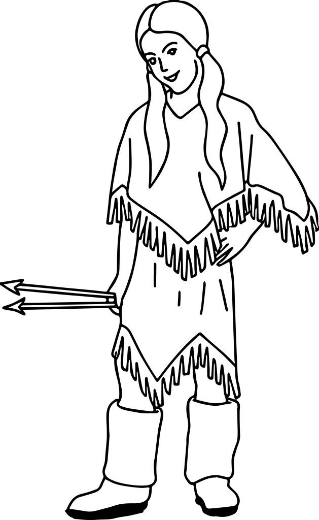 Native american indian arrow girl coloring page for Girl indian coloring pages