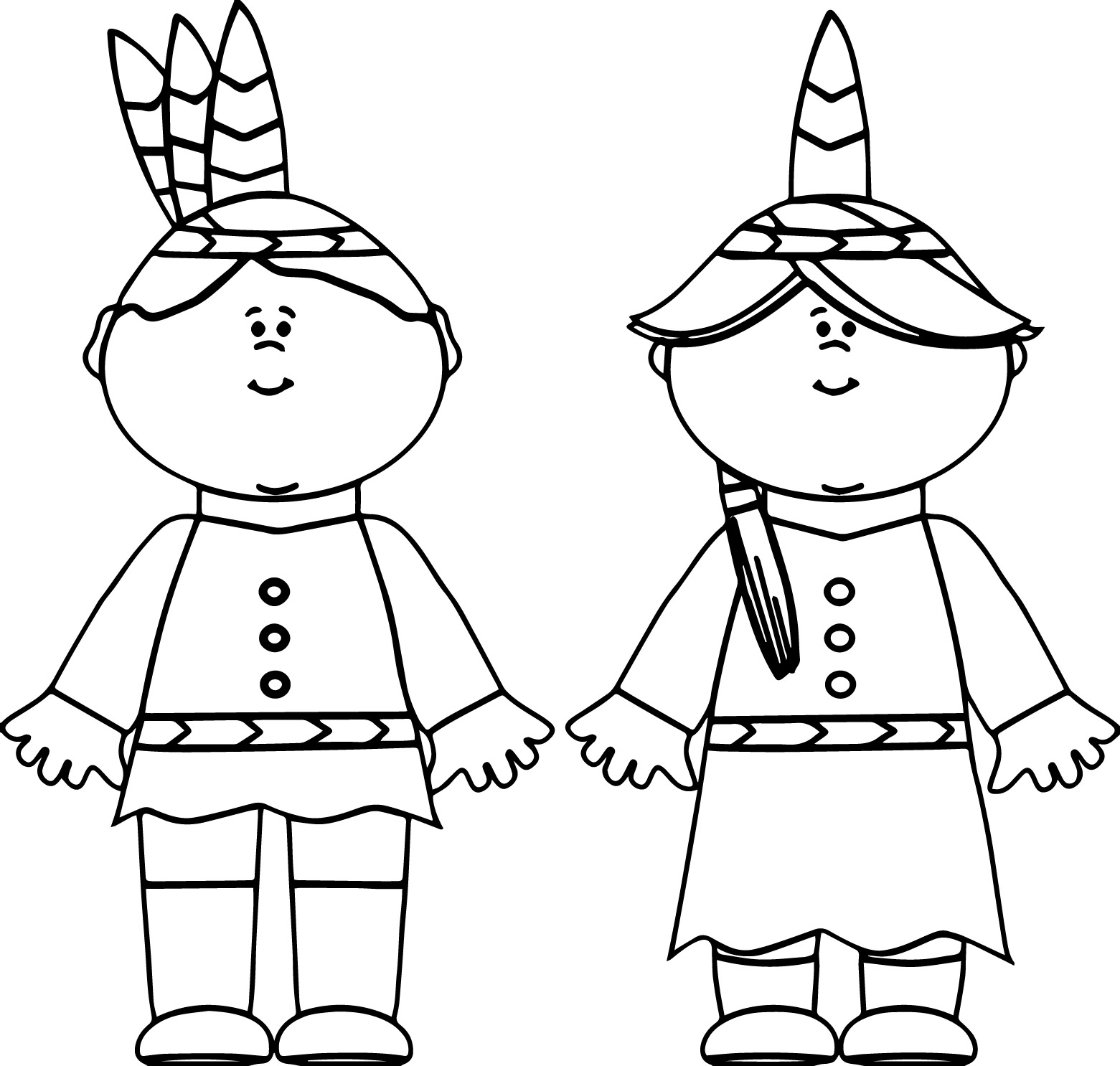 Native American Indian Boy And Girl Coloring Page