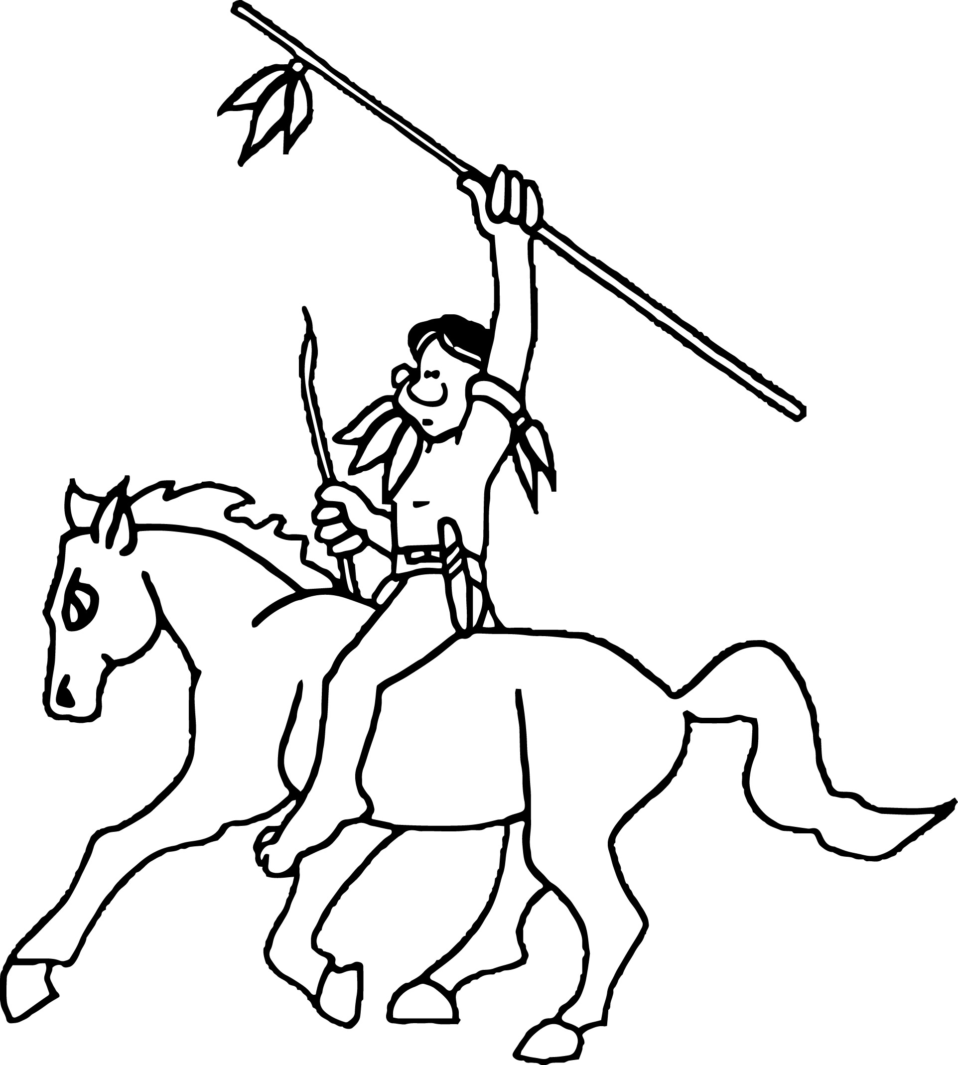 Native American Indian Wars Coloring Page