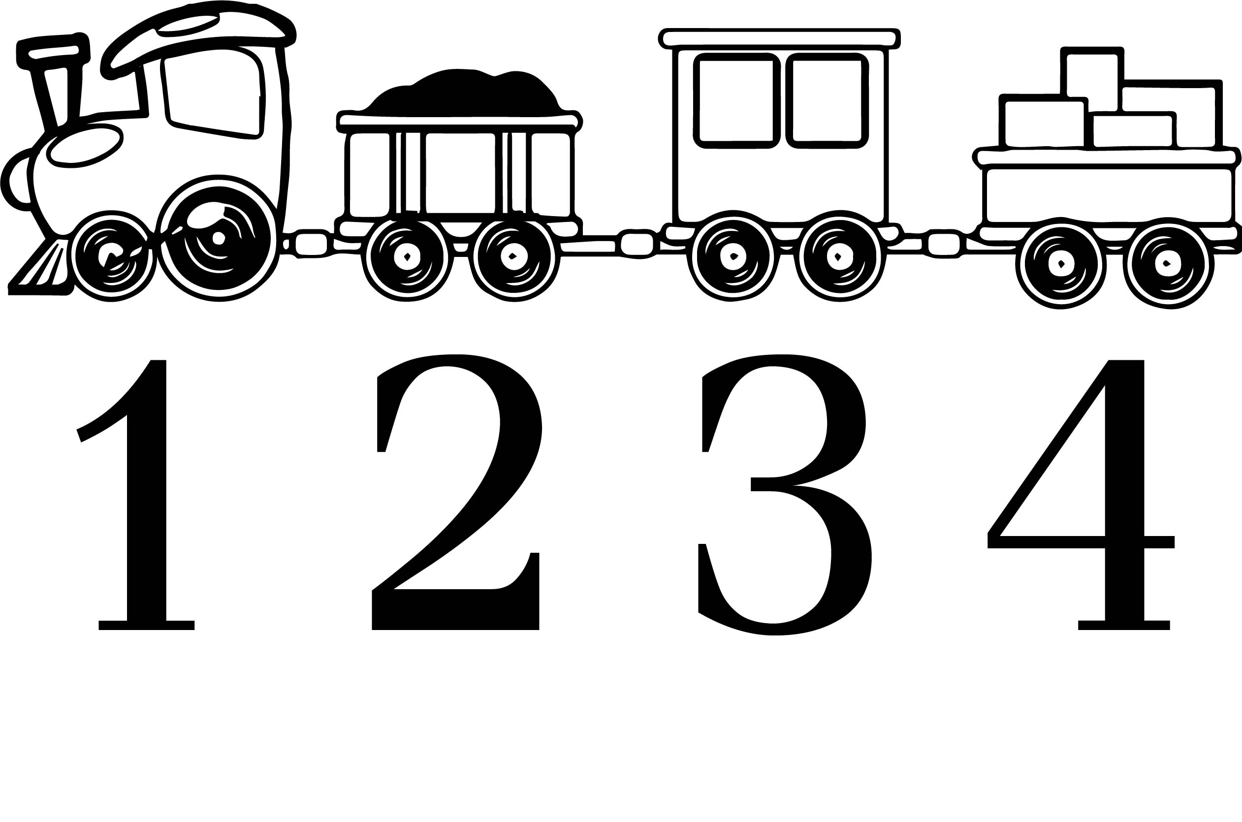 One Two Three Four Train Coloring Page