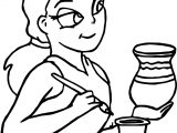 Painter Girl Vase Coloring Page