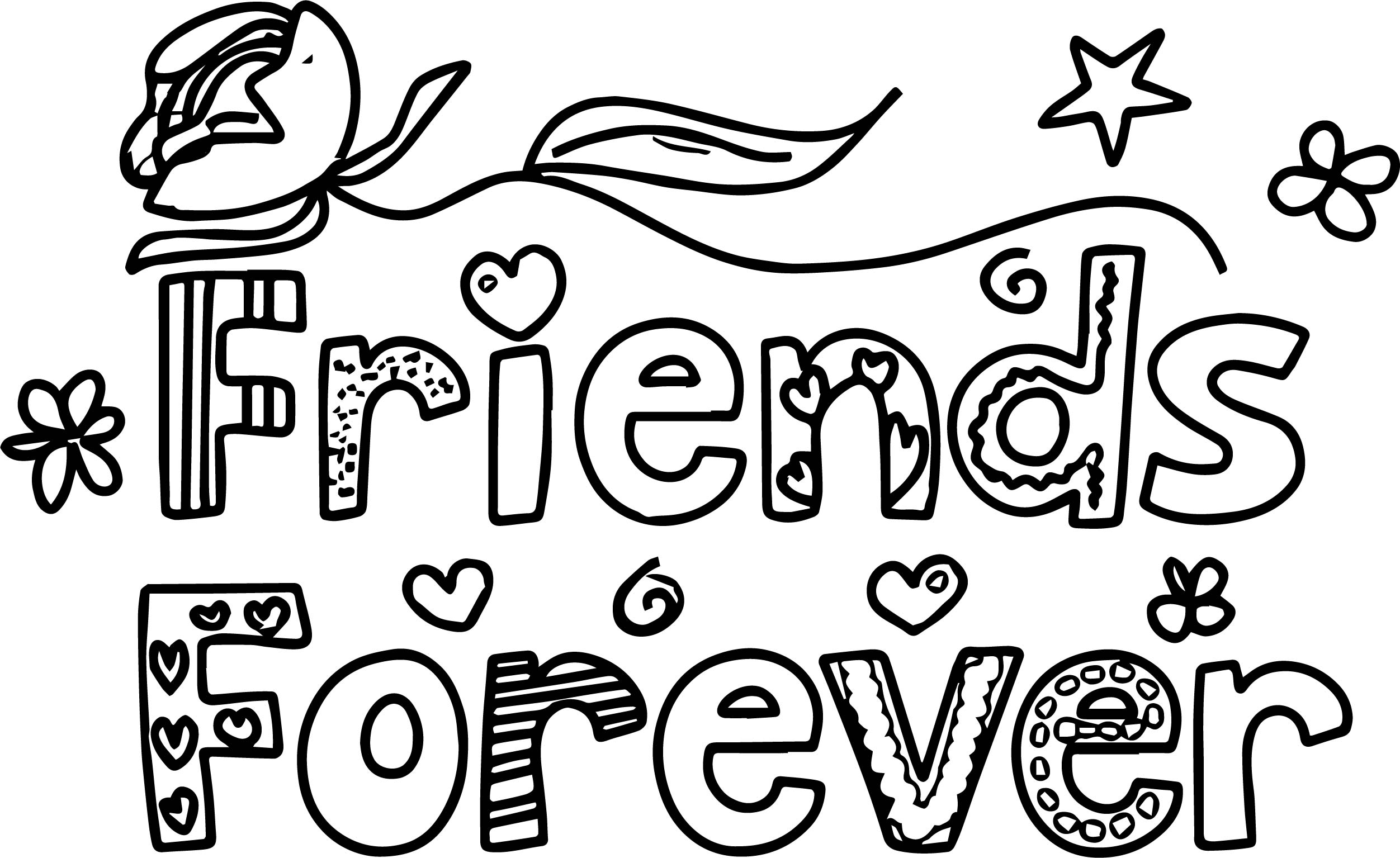friendship coloring page - pal of a colorful friends forever words with designs