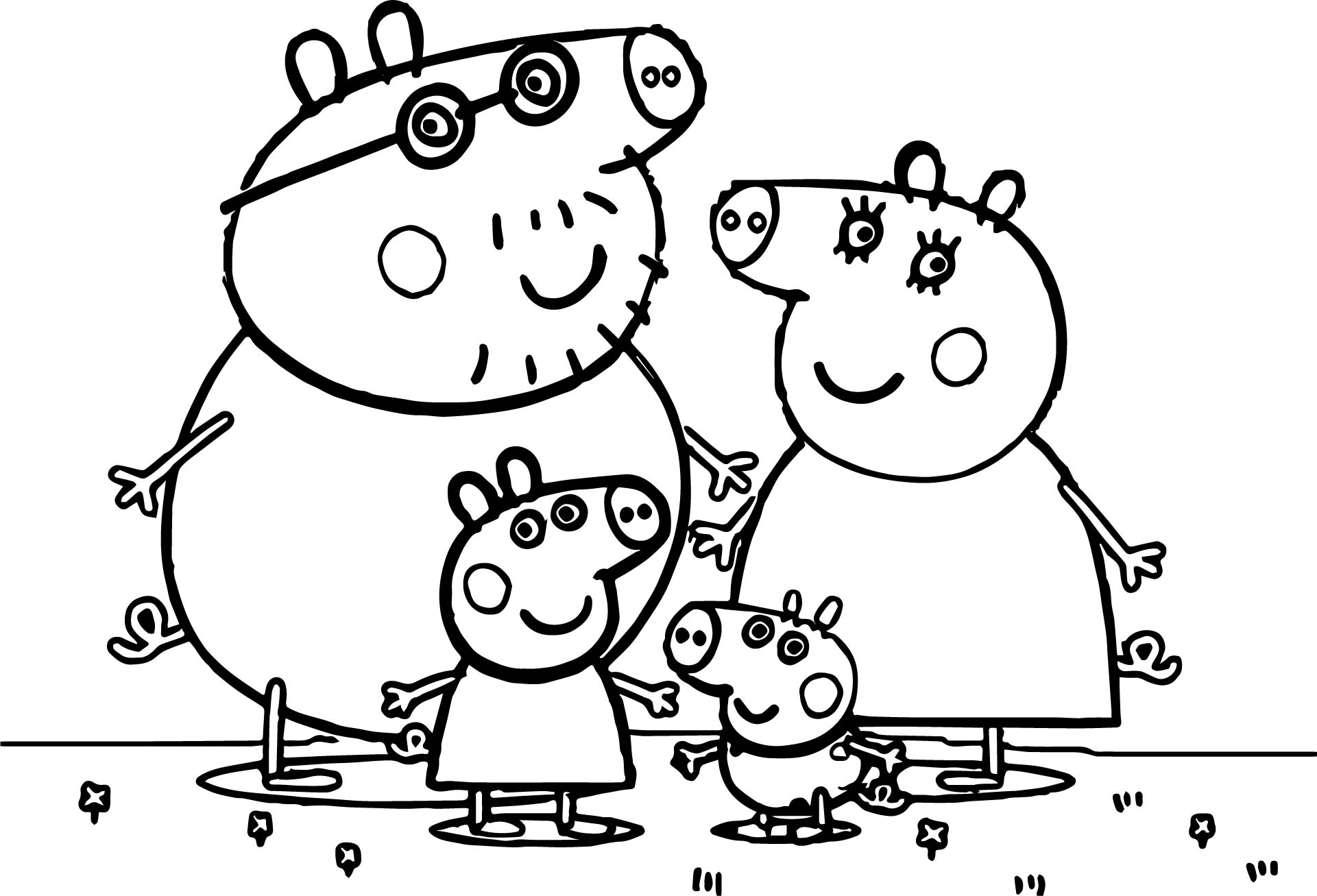 Peppa pig family coloring pages sketch coloring page for Peppa pig drawing templates