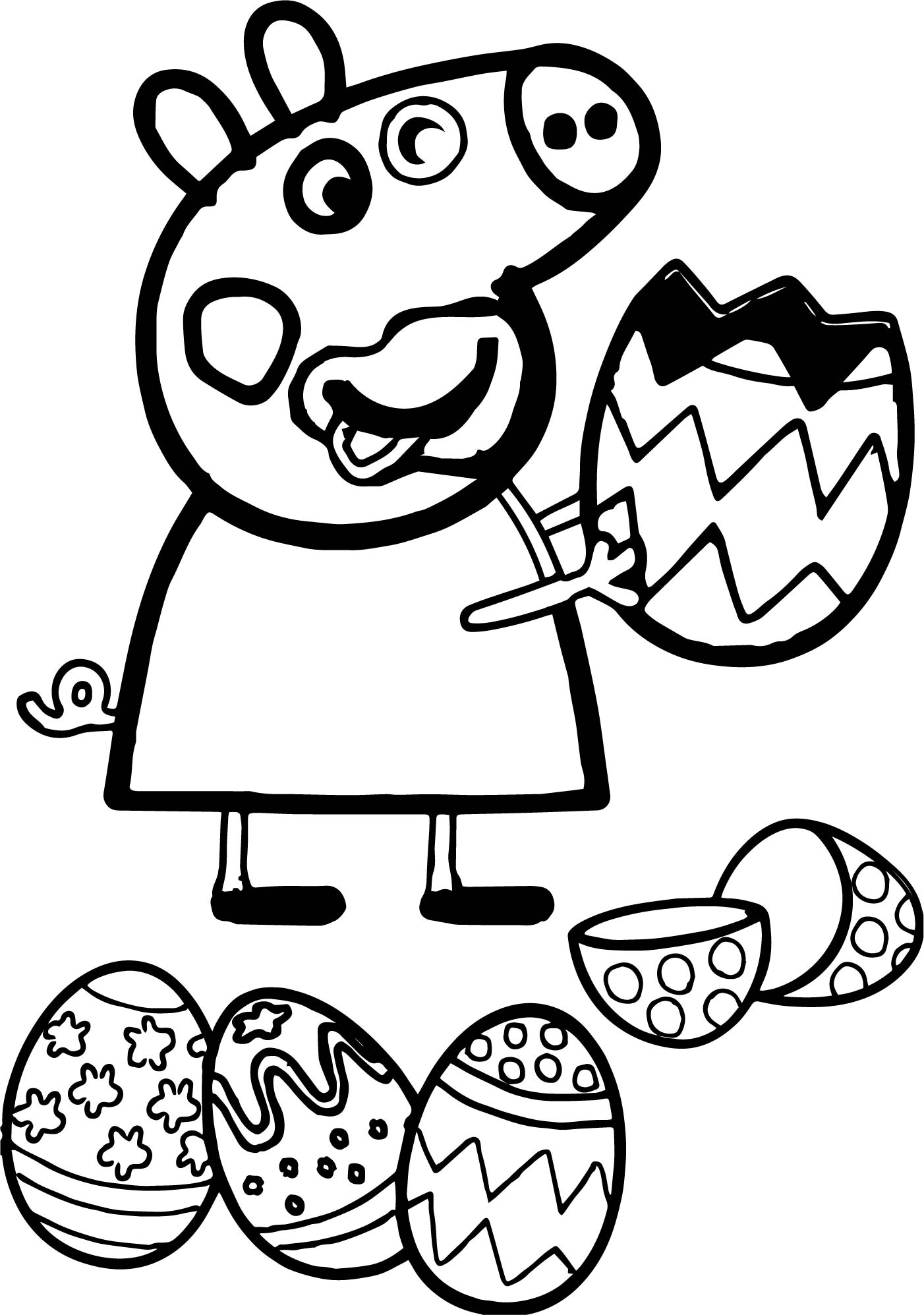 Peppa Pig Funny Eating Easter Egg Coloring Page