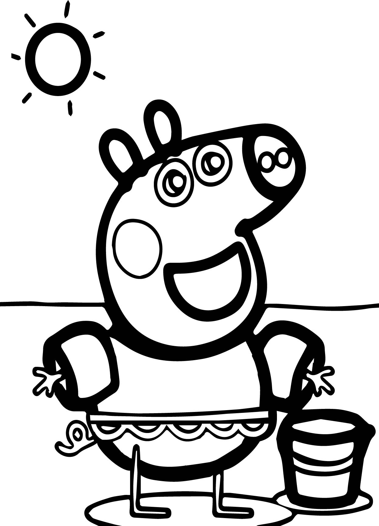 peppa pig sun beach coloring page wecoloringpage