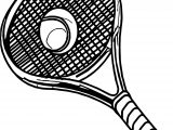 Pic Tennis Racket Ball Coloring Page