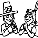 Pilgrim And Native American Indian Praying On Thanksgiving Coloring Page