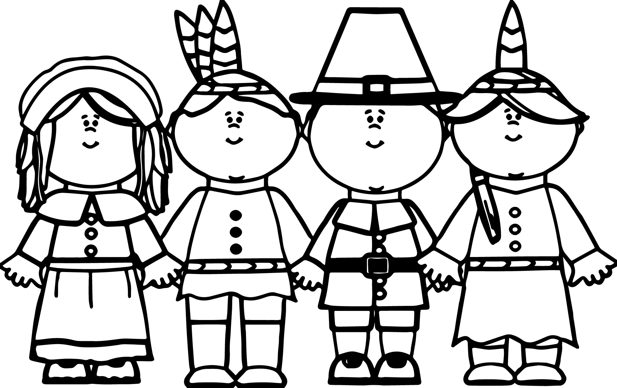 Pilgrim Native American Coloring Page