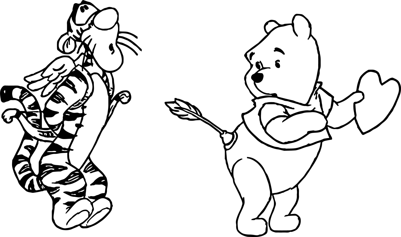 pooh tigger cupid wrong target arrow coloring page wecoloringpage