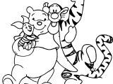 Pooh Tigger Piglet Coloring Page Hug