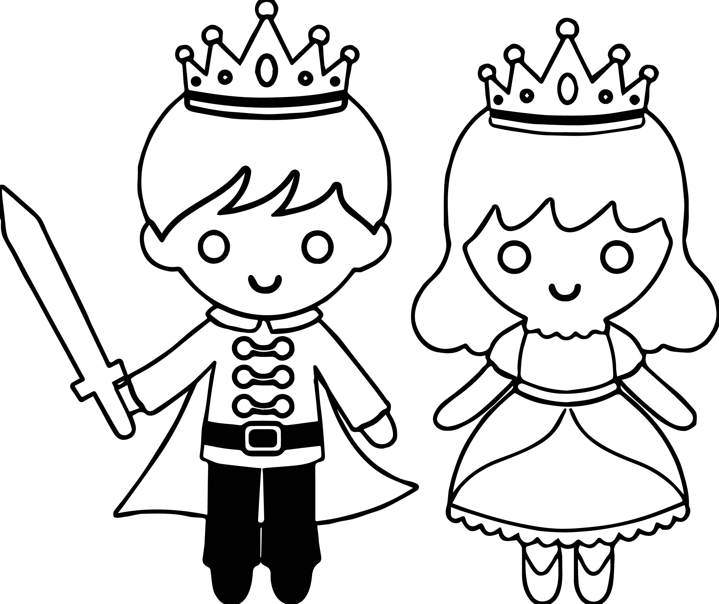 Colouring Pages Princesses To Print : Prince princess warrior coloring page wecoloringpage