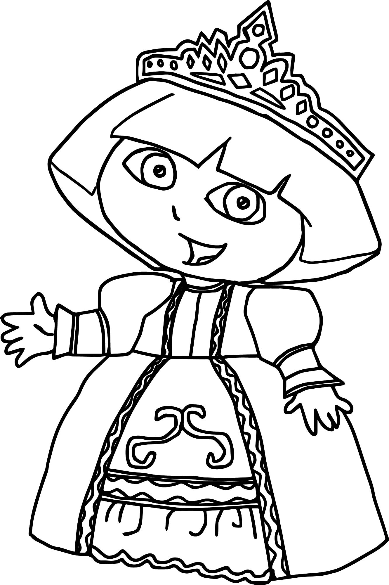 Princess Dora Dora The Explorer Coloring Page