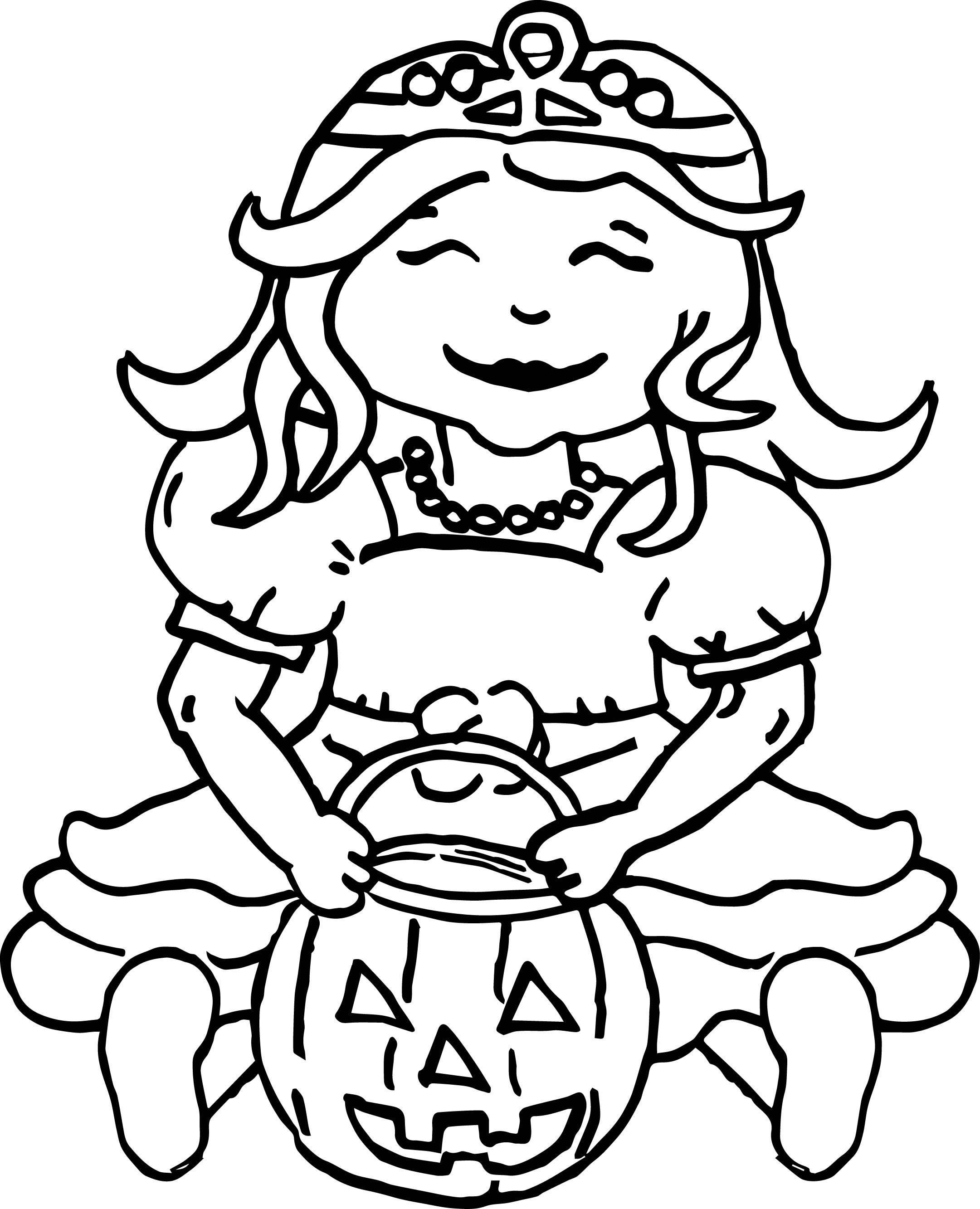 Princess Halloween Pumpkin Coloring Page