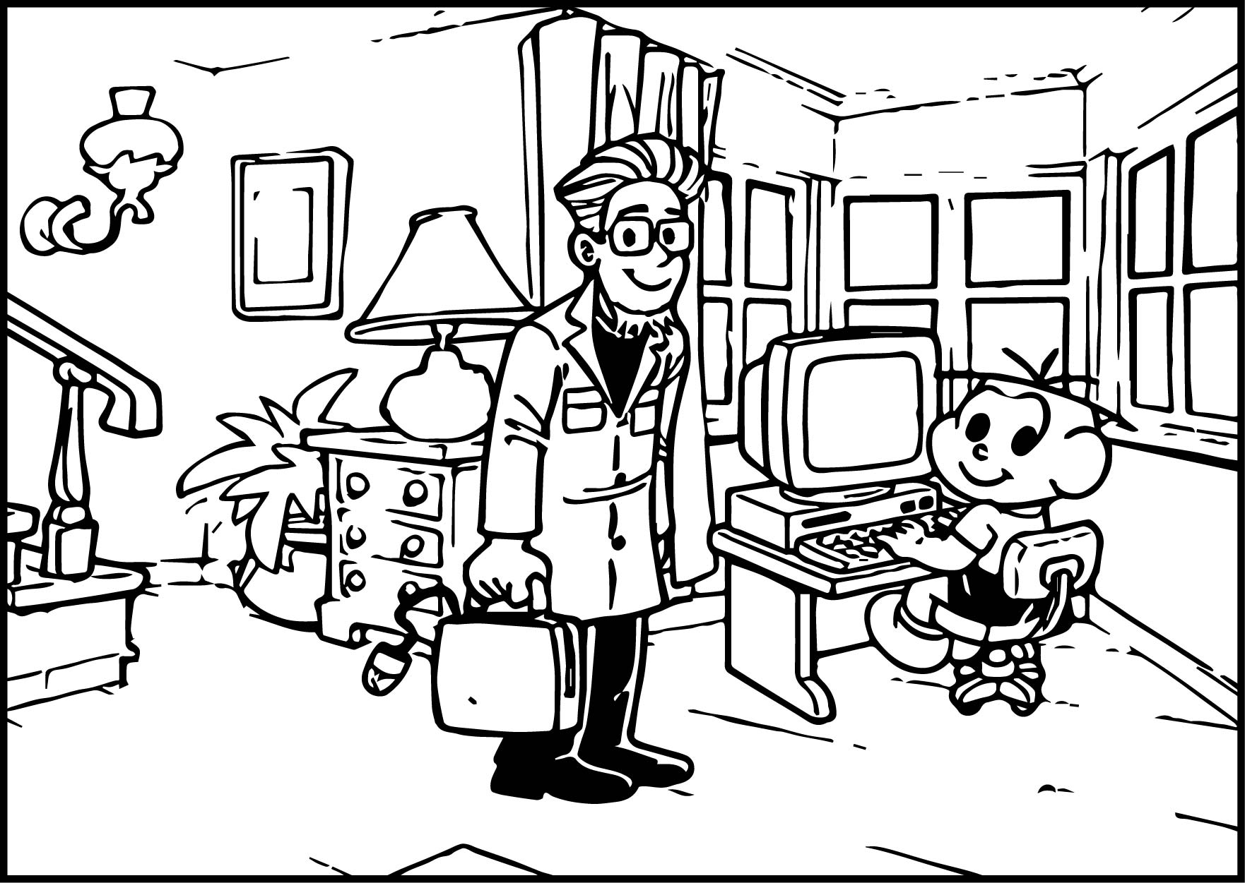 Professor And Oscar Boy Coloring Page