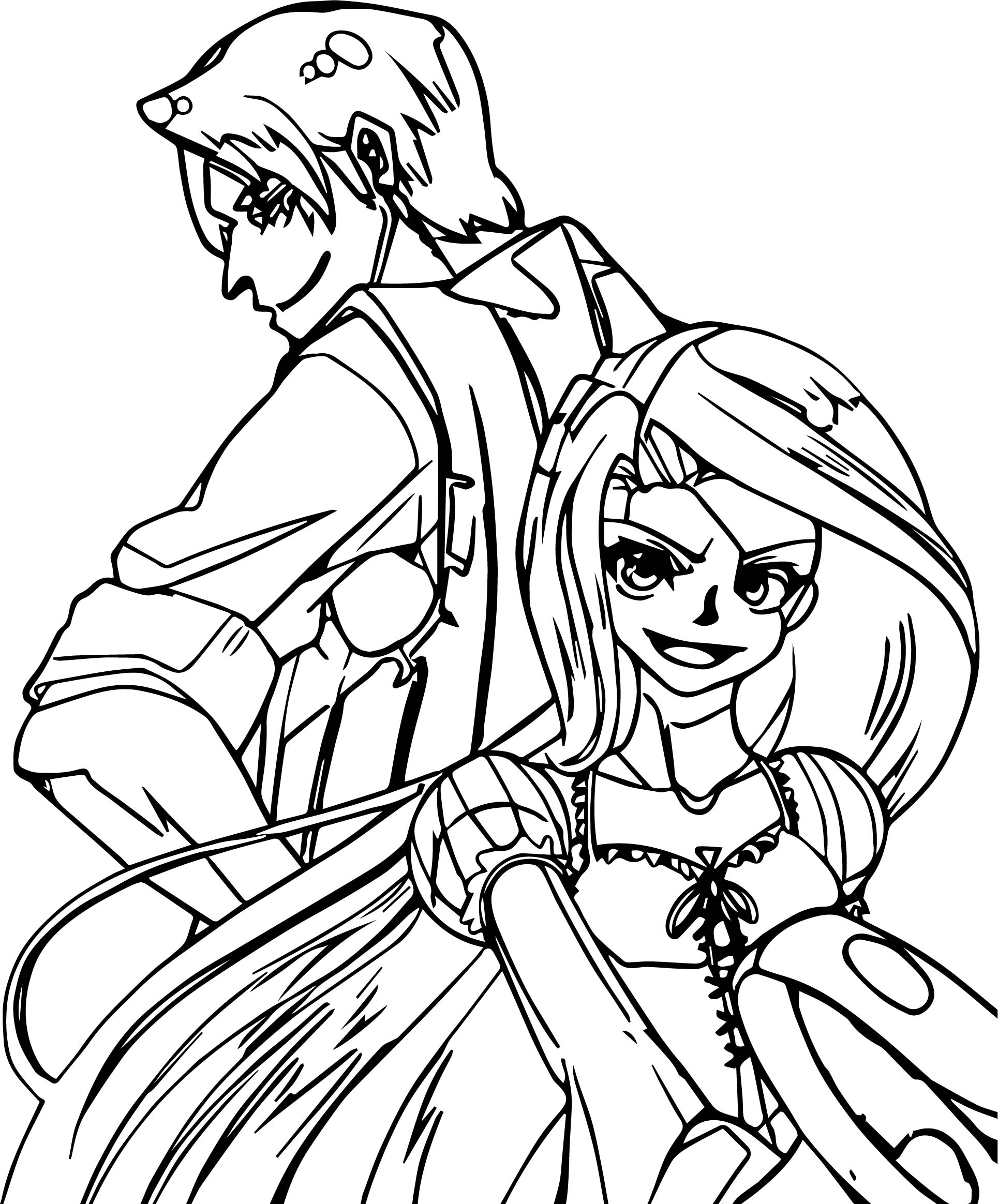 Rapunzel And Flynn Crazy Manga Coloring Page