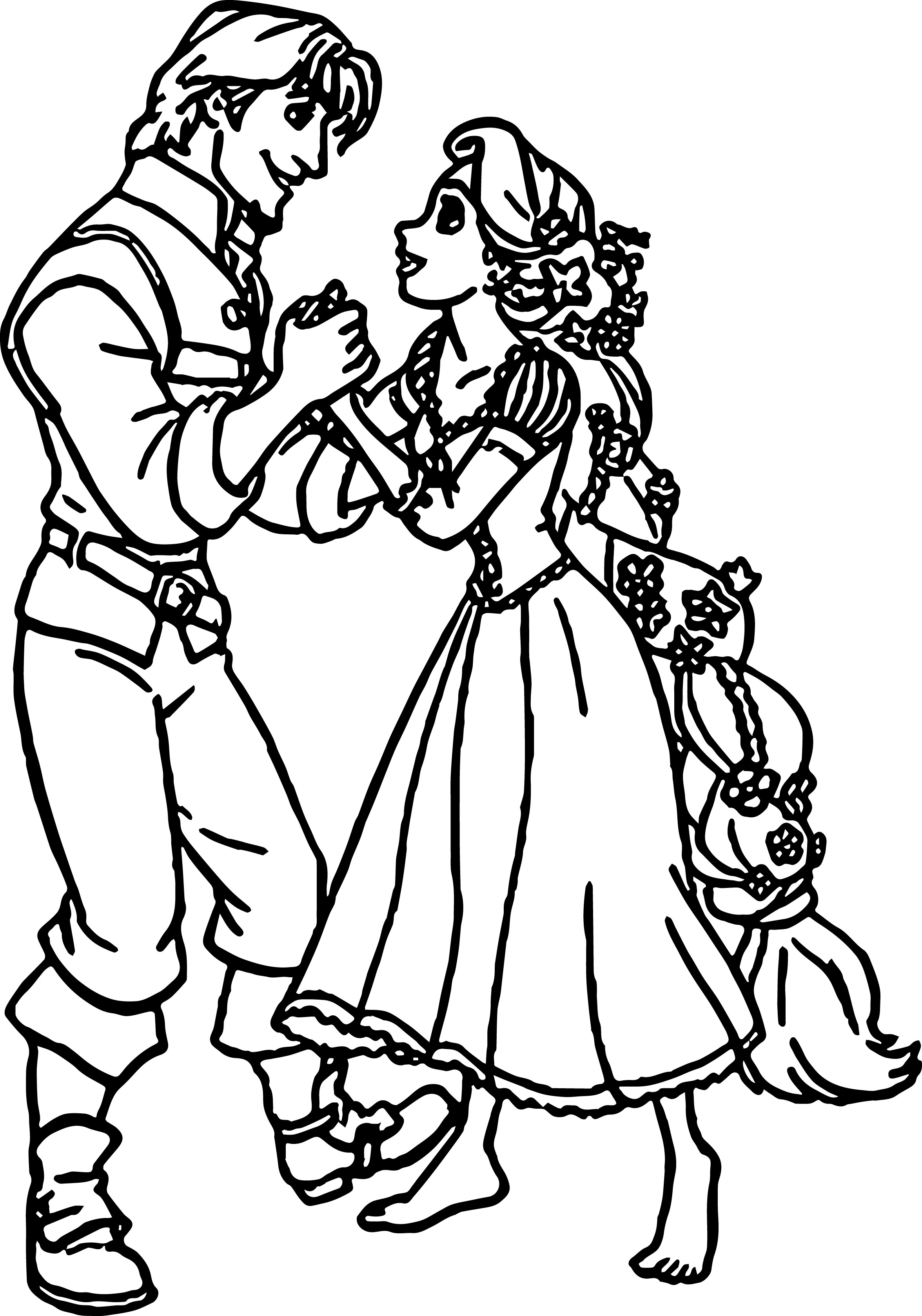 Rapunzel And Flynn Hand Coloring Page