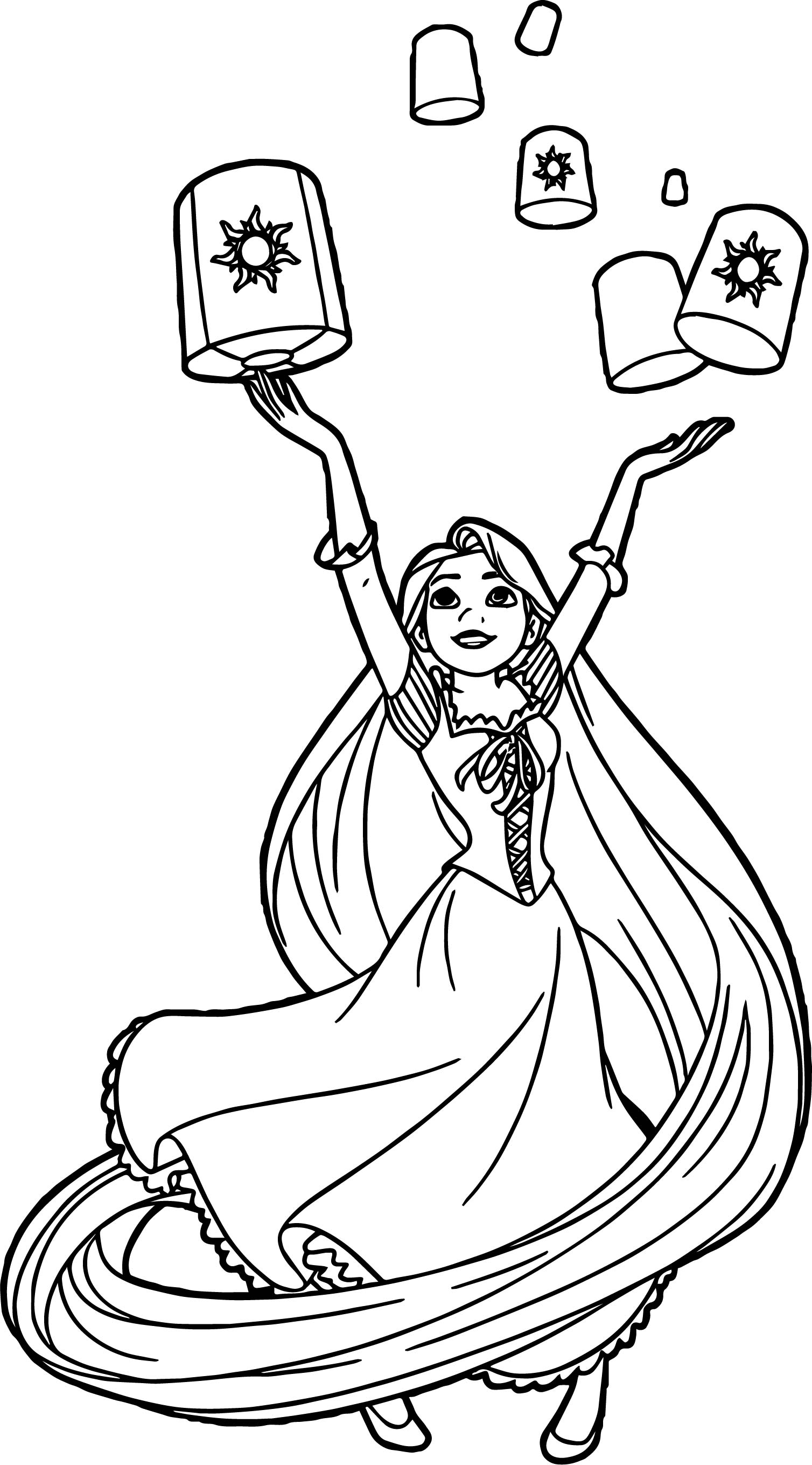 Rapunzel lanterns coloring page for Tangled coloring pages