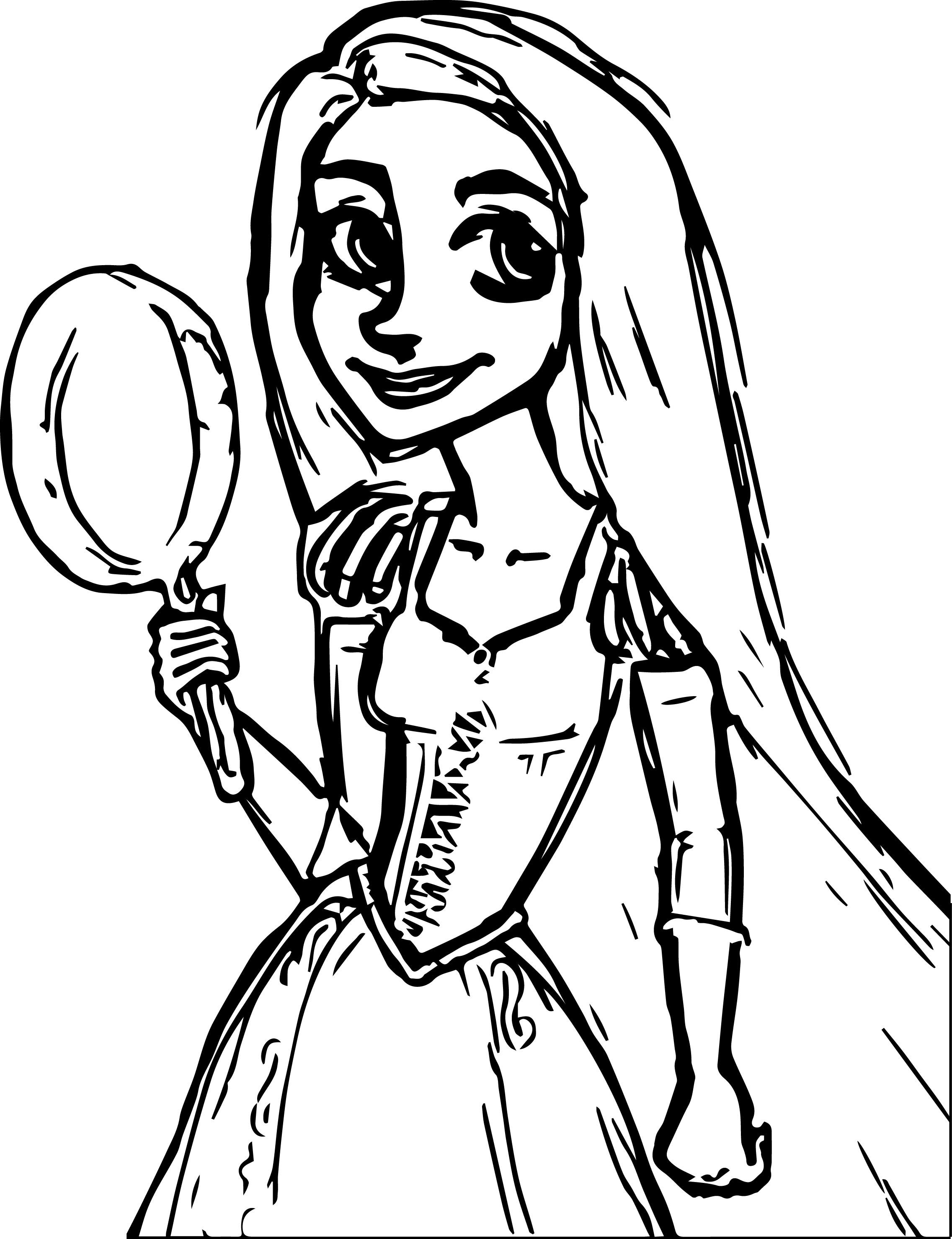 Rapunzel Pan Sketch Coloring Page