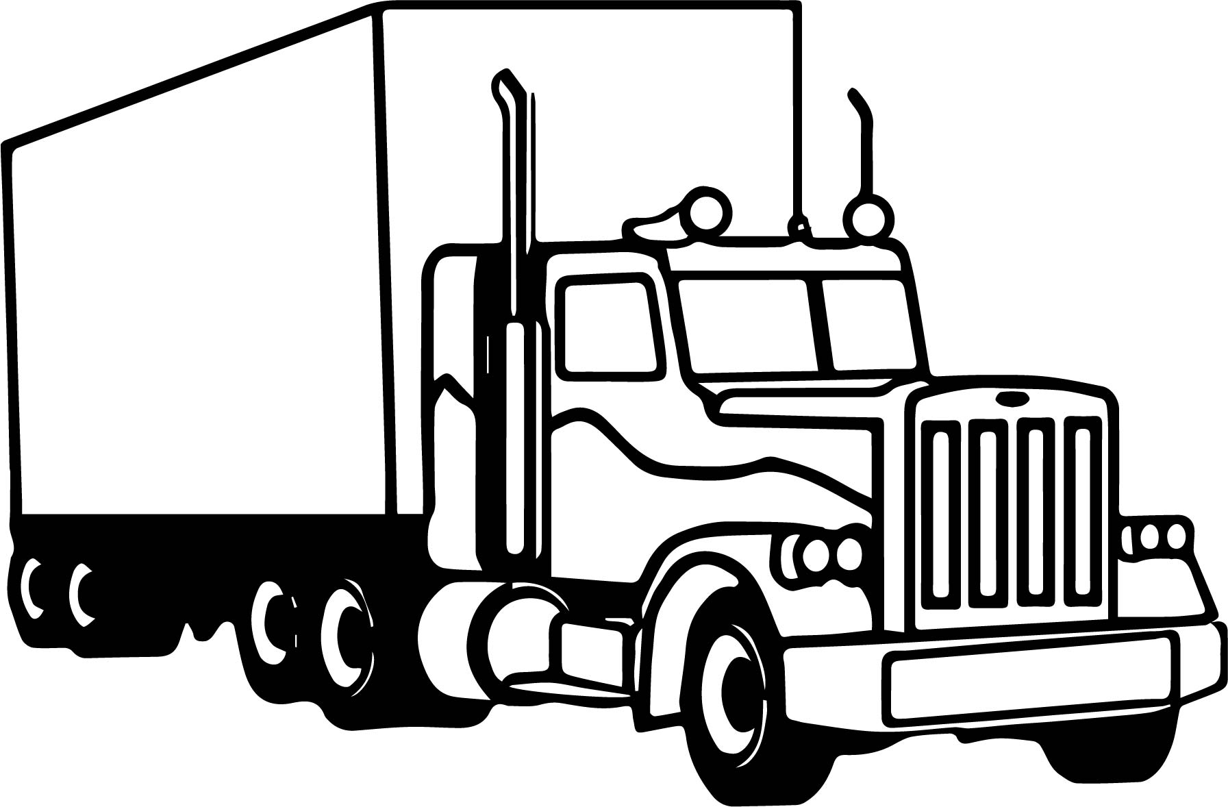 Coloring pictures of cars truck tractors - Semi Truck Coloring Page