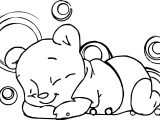 Sleeping Baby Winnie The Pooh Coloring Page