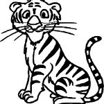 Small Staying Tiger Coloring Page