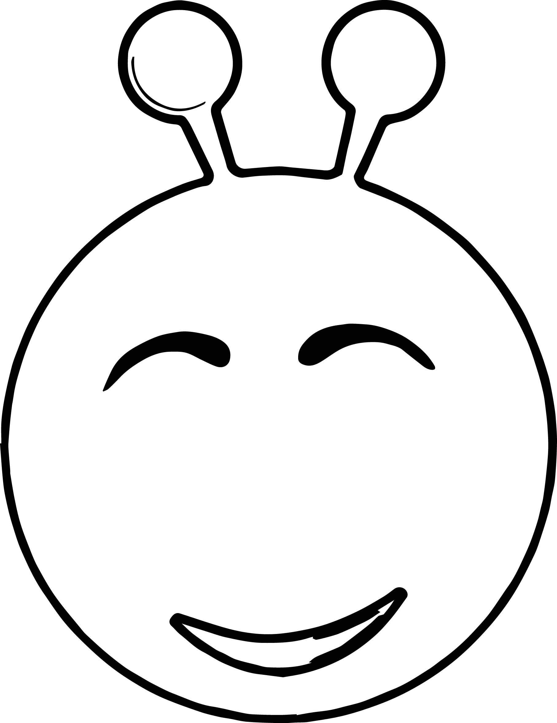 Smiley Green Alien Coloring Page