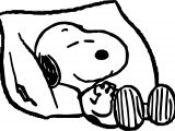 Snoopy Pillow Sleep Coloring Page
