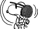 Snoopy Tennis Playing Coloring Page