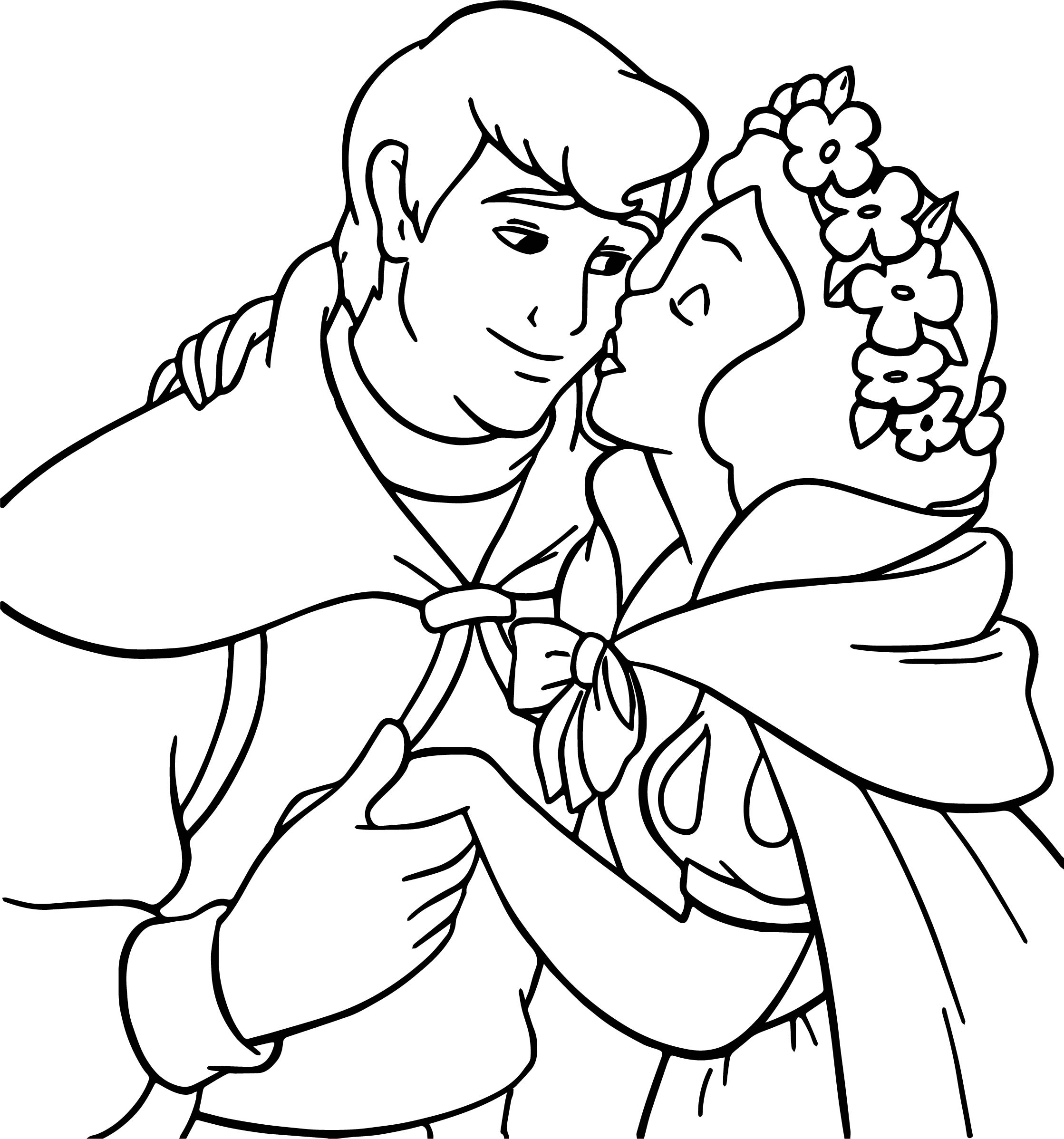 snow white and the kiss prince coloring page wecoloringpage