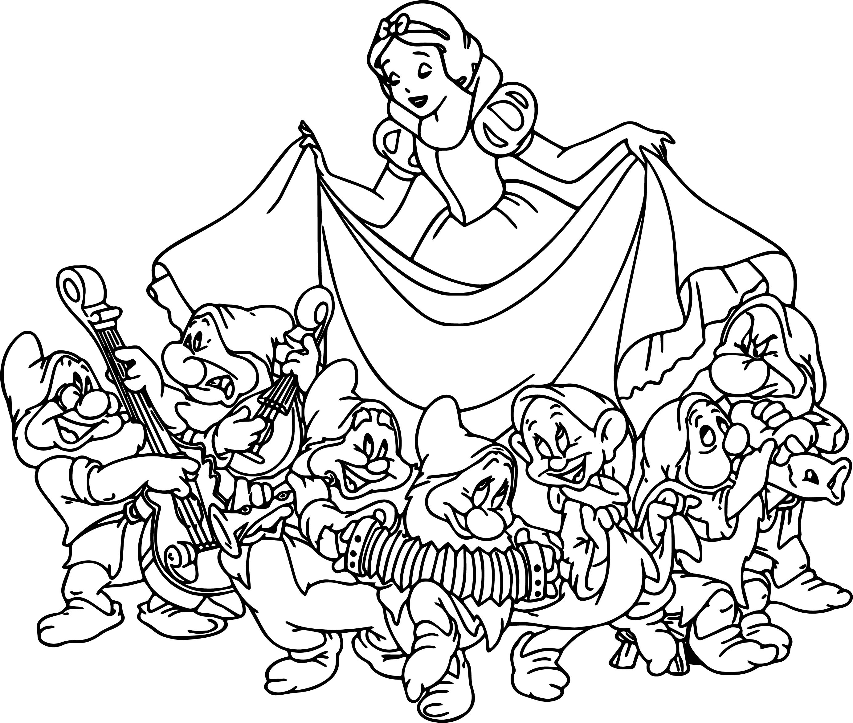 Snow White The Seven Dwarfs Coloring Page