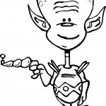 Space Alien With Ray Gun Coloring Page